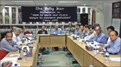 "Discussants at The Daily Star roundtable on ""How to save our rivers: step to remove pollution"" held at the newspaper's conference room yesterday. Photo: STAR"