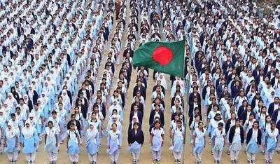 The National anthem 'Amar Sonar Bangla, Ami Tomay Bhalobashi' was sung throughout educational institutions in Bangladesh on Sunday to express solidarity with the protests at Shahbagh.